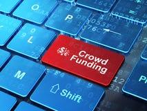 Simbolo di finanza e finanziamento della folla sul computer Fotografia Stock