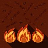 Simbolo di fuoco sul fondo di lerciume Illustrazione Vettoriale