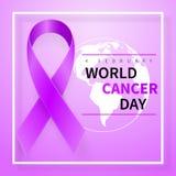 Simbolo di giorno del cancro del mondo, il 4 febbraio Simbolo del nastro Disegno medico Illustrazione di vettore royalty illustrazione gratis