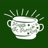 Simbolo di giorno di San Patrizio della foglia del vaso e del quadrifoglio del tesoro del leprechaun o dell'acetosella fortunata Immagine Stock