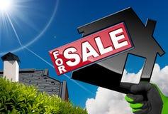 Simbolo di House For Sale di modello Fotografie Stock Libere da Diritti