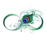 Simbolo di infinito con la piuma del pavone Fotografie Stock Libere da Diritti