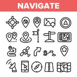 Simbolo di insieme sottile delle icone di vettore lineare di navigazione illustrazione di stock