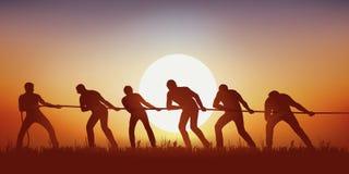 Simbolo di lavoro di squadra con un gruppo di sei corde di trazione degli uomini royalty illustrazione gratis