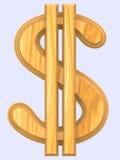Simbolo di legno del dollaro Fotografia Stock Libera da Diritti