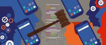 Simbolo di legno dell'asta della corte di crimine del martello della giustizia di Internet di tecnologia dell'informazione di leg Fotografia Stock