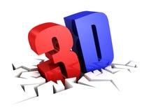 simbolo di lettere del testo 3D in foro della crepa Immagini Stock