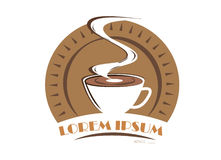 Simbolo di logo del caffè isolato su fondo bianco Fotografie Stock
