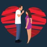 Simbolo di lotta della donna dell'uomo delle coppie del cuore rotto di relazione dello smembramento Fotografie Stock Libere da Diritti