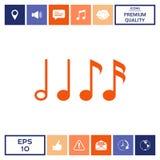 Simbolo di musica, note Semicroma, ottava nota, nota quarta e minima Fotografia Stock