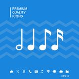 Simbolo di musica, note Semicroma, ottava nota, nota quarta e minima Fotografia Stock Libera da Diritti
