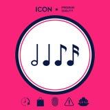 Simbolo di musica, note Semicroma, ottava nota, nota quarta e minima Fotografie Stock Libere da Diritti