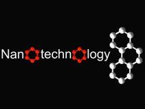 Simbolo di nanotecnologia e molecola bianca sul nero Fotografia Stock Libera da Diritti
