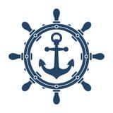 Simbolo di navigazione del volante e dell'ancora della nave Fotografia Stock Libera da Diritti