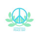 Simbolo di pace con i rami di olive nei colori leggeri per il manifesto Fotografia Stock
