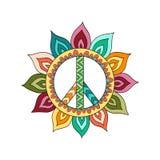 Simbolo di pace d'annata di hippy nello stile dello zentangle Immagini Stock Libere da Diritti
