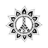 Simbolo di pace d'annata di hippy nello stile dello zentangle Fotografia Stock
