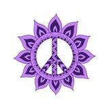 Simbolo di pace d'annata di hippy nello stile dello zentangle Immagine Stock