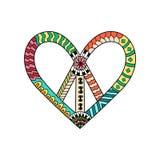 Simbolo di pace d'annata di hippy nello stile dello zentangle Pacifico firmi dentro la forma del ` s del cuore Immagini Stock