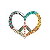 Simbolo di pace d'annata di hippy nello stile dello zentangle Pacifico firmi dentro la forma del ` s del cuore Immagine Stock