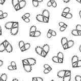 Simbolo di pace d'annata di hippy nello stile dello zentangle per l'anti sforzo adulto Pagina di coloritura con gli alti dettagli Fotografia Stock