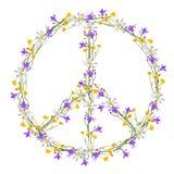 Simbolo di pace di flower power Immagine Stock