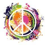 Simbolo di pace di hippy pace ed amore Arte disegnata a mano variopinta di stile di lerciume Immagine Stock