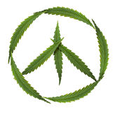 Simbolo di pace, marijuana, simbolo del hippy Fotografie Stock