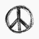 Simbolo di pace rosso creato nello stile di lerciume. Fotografia Stock