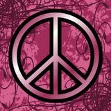 Simbolo di pace su fondo floreale Fotografia Stock