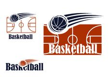 Simbolo di pallacanestro con il campo e la palla Fotografia Stock