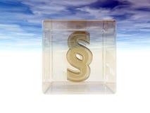 Simbolo di paragrafo in cubo di vetro Immagini Stock