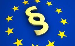 Simbolo di paragrafo sulla bandiera di UE Immagine Stock Libera da Diritti