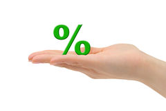 Simbolo di percentuale e della mano Fotografia Stock Libera da Diritti