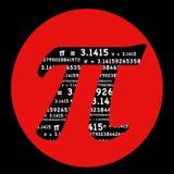 Simbolo di pi con il cerchio rosso Fotografie Stock Libere da Diritti
