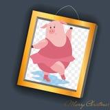 Simbolo 2019 di porcellino di vettore Illustrazione del fumetto per la cartolina di Natale, stampe, calendario, invito dell'autoa illustrazione vettoriale