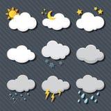 Simbolo di previsioni del tempo nel fondo grigio Fotografia Stock