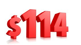 Simbolo di prezzi di 114$ cento quattordici testo rosso 3d rendere con il simbolo di dollaro su fondo bianco illustrazione di stock
