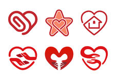 Simbolo di progettazione dell'illustrazione di simbolo dei cuori Fotografie Stock Libere da Diritti