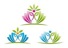Simbolo di progettazione di logo di yoga di Lotus Fotografie Stock