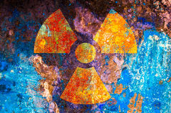 Simbolo di radiazione ionizzante Fotografia Stock