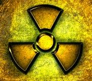 Simbolo di radiazione su una priorità bassa d'acciaio Immagine Stock