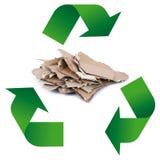 Simbolo di riciclaggio dei rifiuti nel fondo bianco Immagini Stock