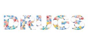 Simbolo di salute delle compresse delle pillole di parola delle droghe Fotografie Stock