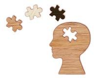 Simbolo di salute mentale Siluetta della testa umana con un puzzle immagini stock libere da diritti