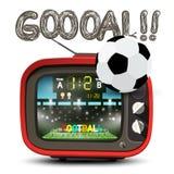 Simbolo di scopo con la palla di calcio e la retro TV rossa fotografia stock libera da diritti