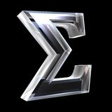 Simbolo di sigma in vetro (3d) Immagine Stock