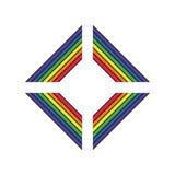 Simbolo di sostegno di LGBT nei colori dell'arcobaleno con iscrizione Icone, modello di logo Elemento alla moda di progettazione  illustrazione vettoriale