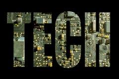 Simbolo di tecnologia con fondo elettronico Immagini Stock