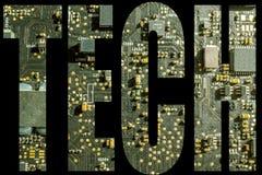 Simbolo di tecnologia con fondo elettronico Fotografia Stock Libera da Diritti